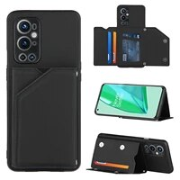 luxury pu leather phone case for oneplus 9 pro soft tpu frame cover for oneplus 9 flip wallet card slots stand case