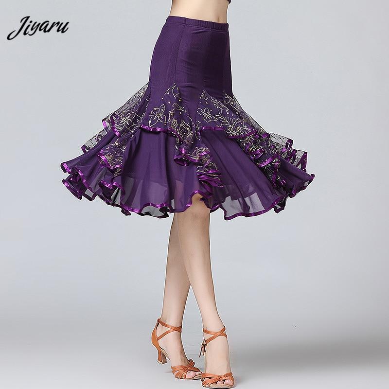 Nuevas faldas de baile de salón para mujer, faldas Danza moderna de Tango latino, estándar nacional, vestido de baile de competición de vals Flamenco