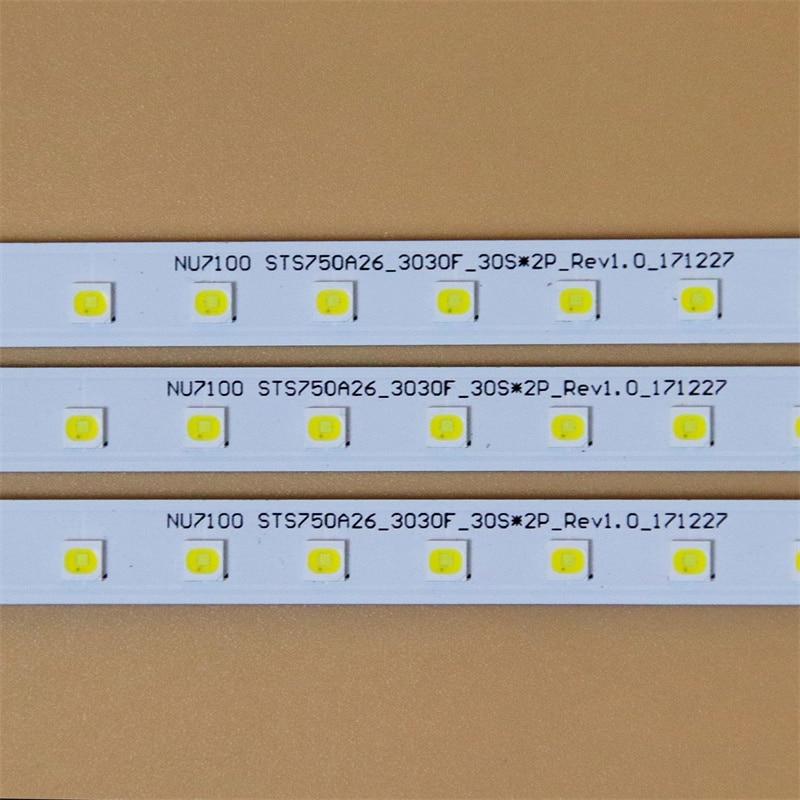 LED مجموعة كاملة القضبان لسامسونج UA75RU7100R UA75RU7200K UA75RU7400 LED الخلفية شرائط مصفوفة مصابيح LED عدسة العصابات أشرطة الأشرطة