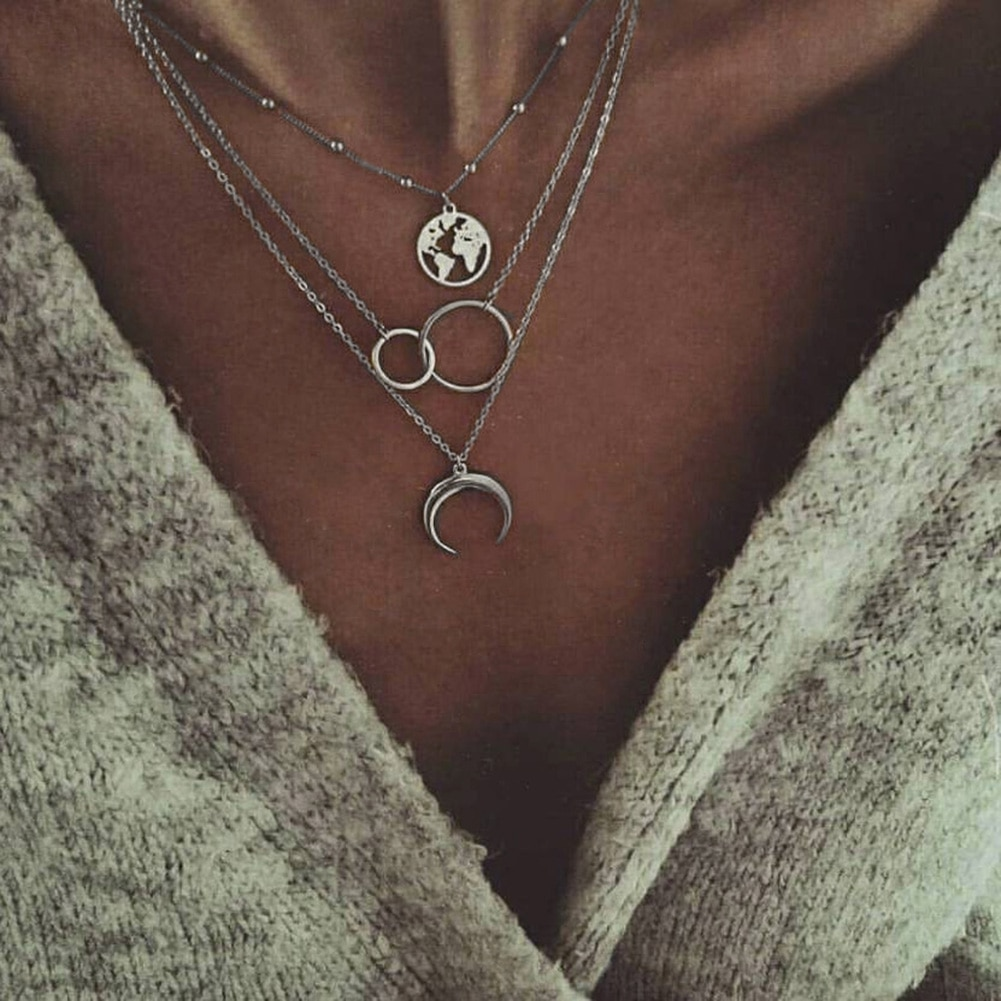 Bohemian Moda Lua Círculo Mapa Terra Multicamadas Gargantilha Colar Pingente para Mulheres Jóias Bijoux Collier Collares Mujer Femme