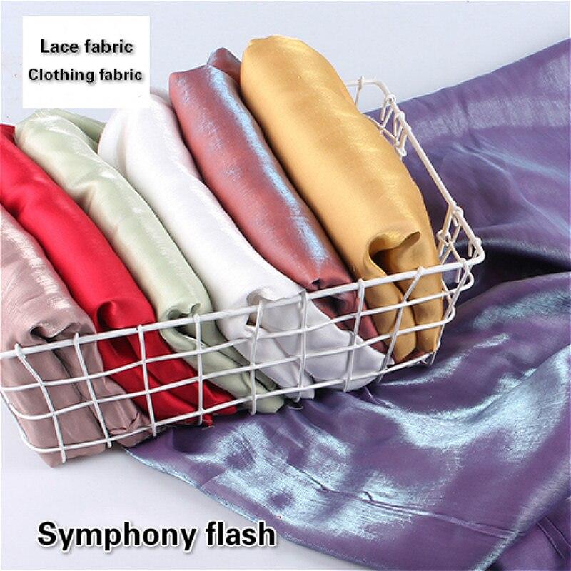 Nova vitrificada seda algodão flash gradiente tecido de renda roupas diy saia têxtil casa cortina cama travesseiro bandana material costura