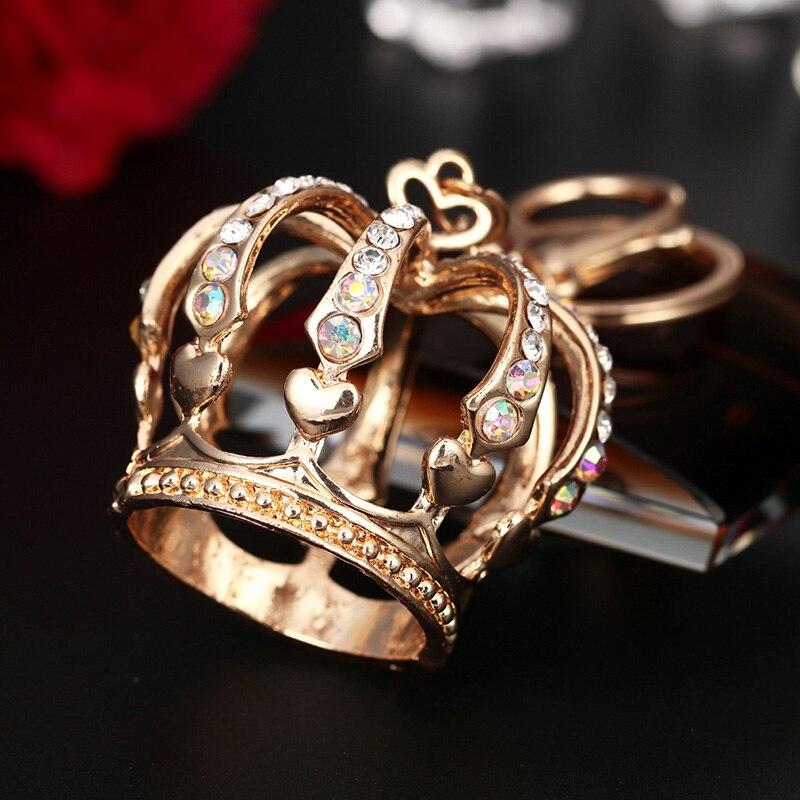 Chique strass pingente de cristal charme coroa chaveiro anel chaveiro presente dos namorados feminino chaveiros jóias saco chave titular
