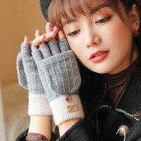 Вязаные перчатки FRALU на осень и зиму, женские уличные ветрозащитные теплые перчатки с откидной крышкой без пальцев, универсальные шерстяные...
