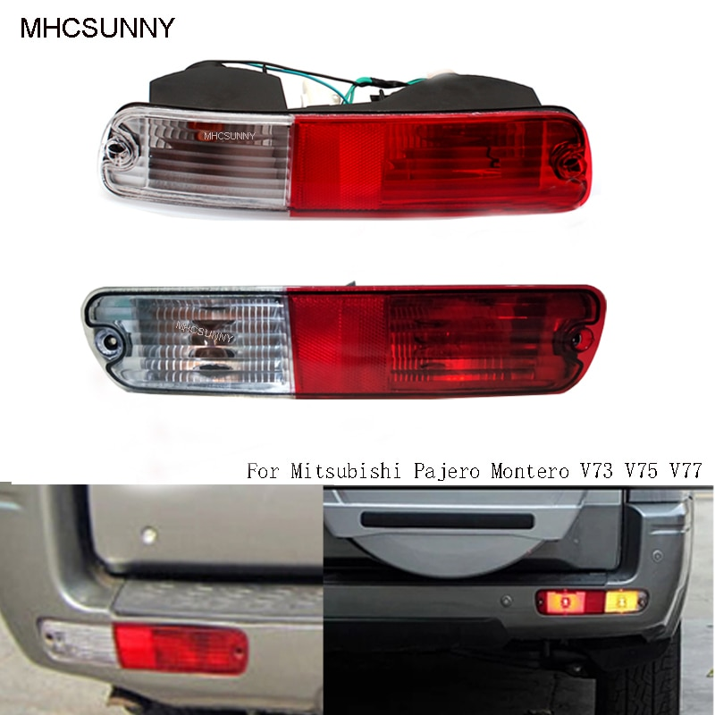 Luz trasera de parachoques trasero para Mitsubishi Pajero Montero V73 V75 V77 2003 2004 2005 2006 2007 Lámpara de señal reflectora con bombilla