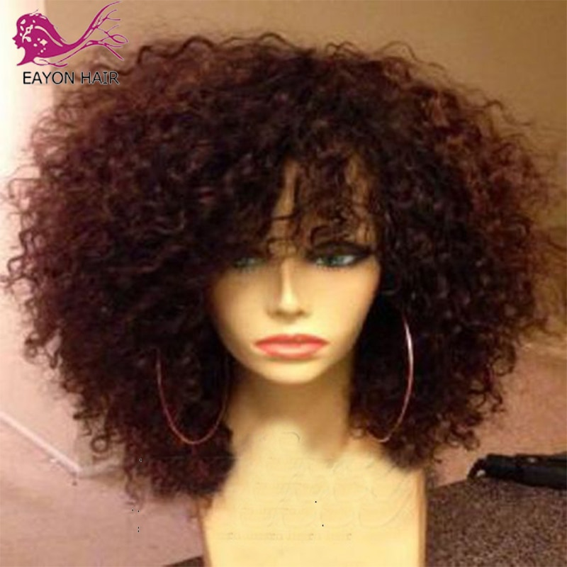 Eayon 200Density Curly Scalp Top Wigs with Bangs Glueless Short Brazilian Curly Silk Top Scalp Human Hair Wigs For Women