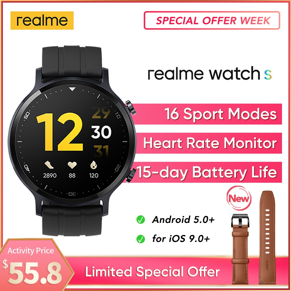 realme Watch S Global Version Smartwatch Waterproof 15 Day Battery Blood Oxygen Monitor Watch Music Control For ios Android