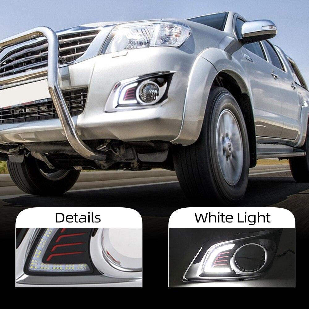 Luz intermitente para coche, 1 par, DRL para TOYOTA HILUX VIGO CHAMP 2012 2013 2014, luz de circulación diurna, estilo de coche, lámpara antiniebla 12V