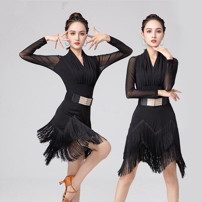 Ремень с искусственным жемчугом, Женская Осенняя тренировочная одежда для взрослых, костюм для танцев на сцене и представлений румбы YS2600