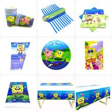 Cartoon Sponge-Bob Birthday Party Decoration Disposable Tableware Paper Plate Cup Flag Girl Boy Baby