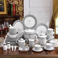 luxury bone china 58pcs dinnerware set white and black porcelain kitchen home accessories modern serving dinner dish plate bowls