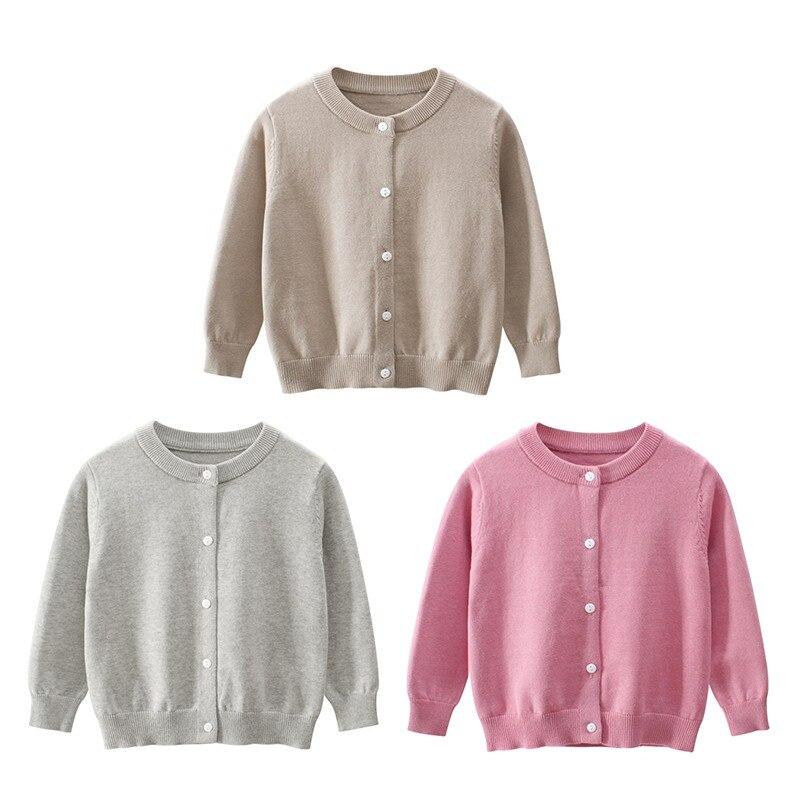 ¡Novedad! Cárdigan ligero de punto de algodón con botones de cuello redondo para niños y niñas, Jersey informal, ropa de calle, uniformes escolares, cárdigans