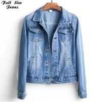 plus size cropped jean jacket 4xl 5xl dark blue bomber short denim jackets jaqueta long sleeve casual jeans coats