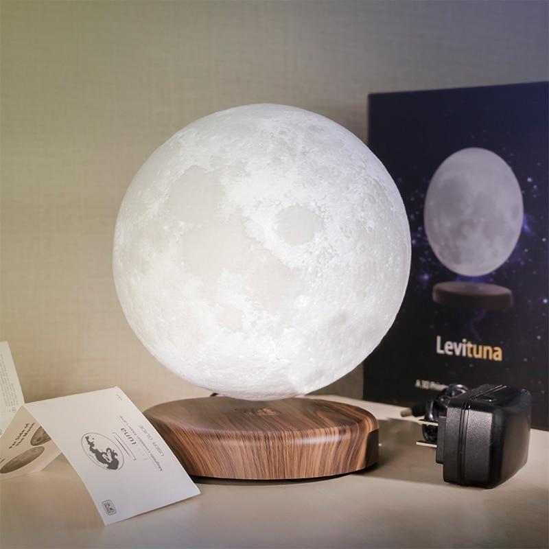 Maglev LED Moon Night Light Magnetic Levitation Rotation 3D Print 16 Colors Home Decor Novelty Creative Children Bedroom Lights