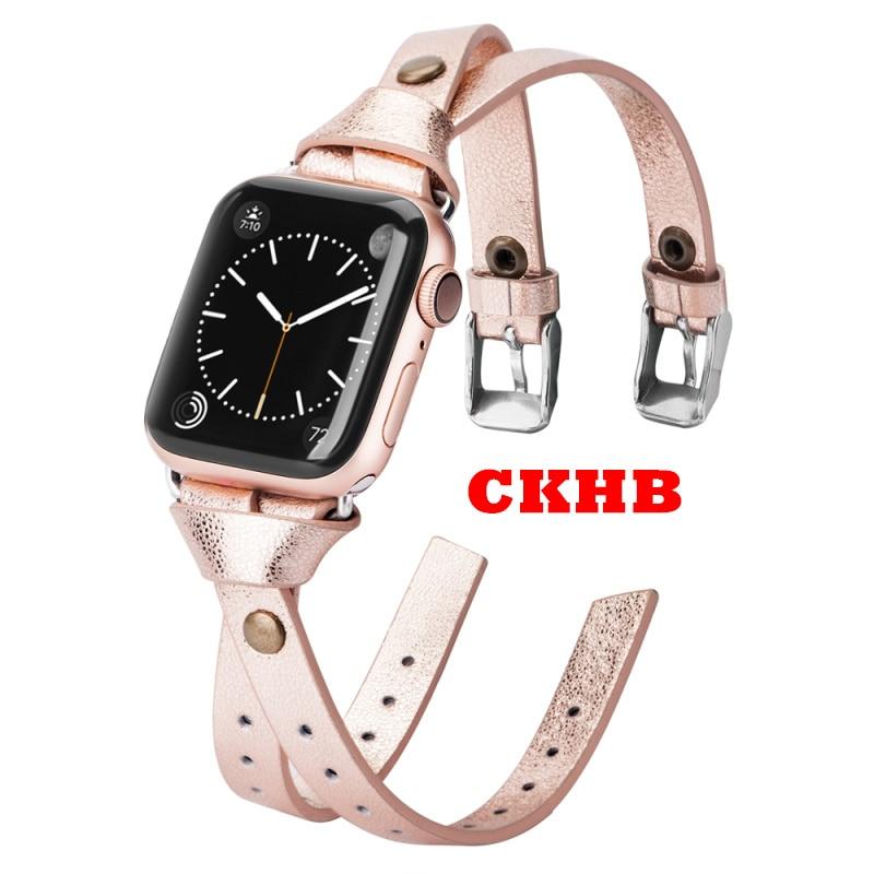 Wearlizer النساء حزام من الجلد ل أبل ساعة موضة مزدوجة جلد 38 مللي متر 40 مللي متر 42 مللي متر 44 مللي متر الفرقة ل iwatch سلسلة 5 4 3 2 Ckhb-bd1