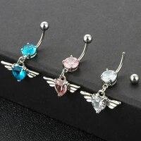 9mm belly ring angel wings stainless steel zircon belly rings diamond heart button ring pierced jewelry male female