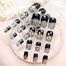 24 pièces noir strass ongles faux ongles manucure Double face bande français ongles conseils mariage Nail Art faux ongles conseils accessoires