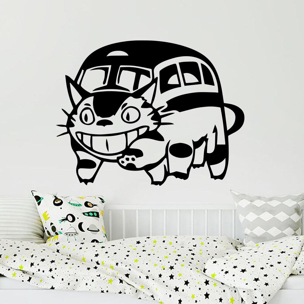 Мультфильм CatBus Nekobus Мой сосед Тоторо Наклейка на стену автомобильный ноутбук сосед Тоторо Кот автобус настенный автомобиль ноутбук стикер винил LW236