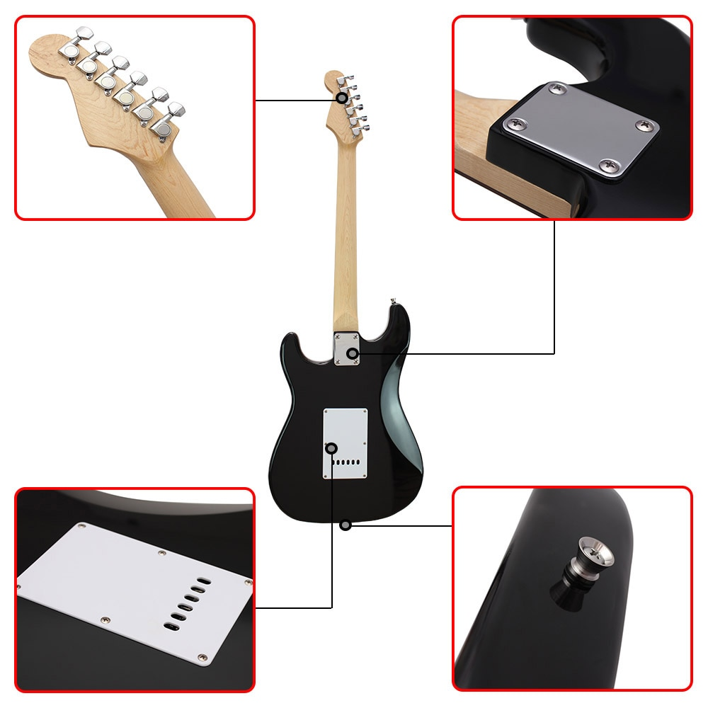 M MBAT 21 Frets Electric Guitar Kit Solid Wood Body Maple Neck with Picks Strap Bag Tuner 6 Strings Guitar Parts Accessories enlarge