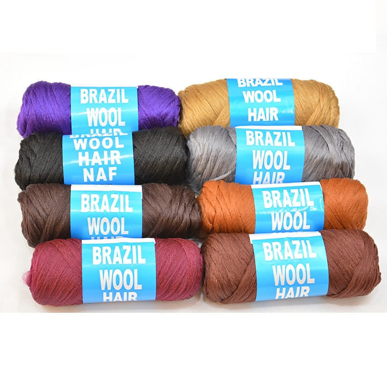 3Pcs = 210g Afrikanische haar flechten garn Brasilianische wolle haar garn niedrigen temprature flammschutzmittel faser
