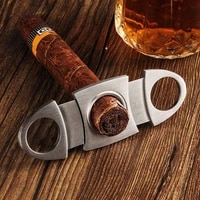 portable stainless steel cigar cutter metal classic portable cigar cutter guillotine cigar scissors gift lighter acessories