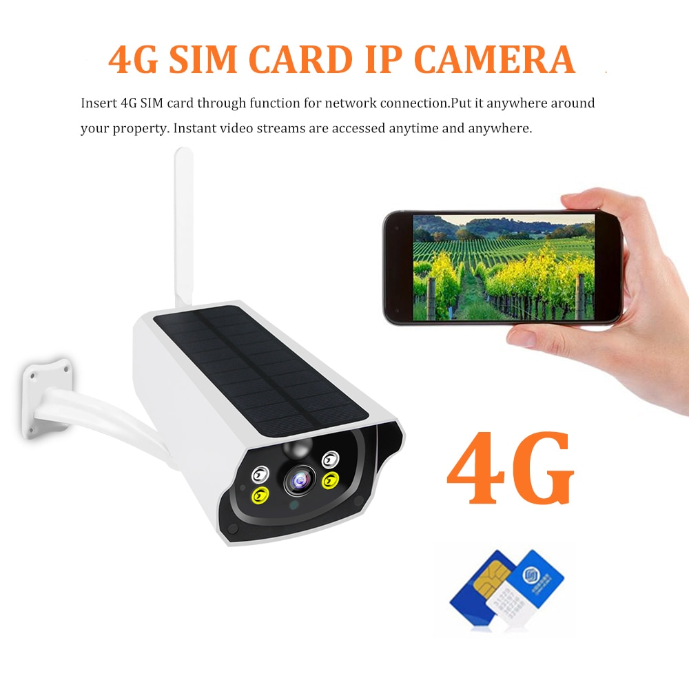 Full HD 1080P 4G Solar Powered Camera Rechargeable Battery WiFi Camera Solar Panel 4G Sim Card Wireless Security Camera PIR