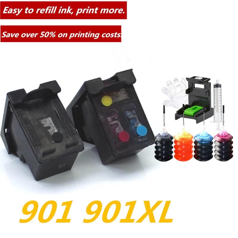 GraceMate 901 901XL Refillable Ink Cartridge for HP Officejet 4500 J4500 J4540 J4550 J4580 J4640 J4680 Printer Cartridge 901