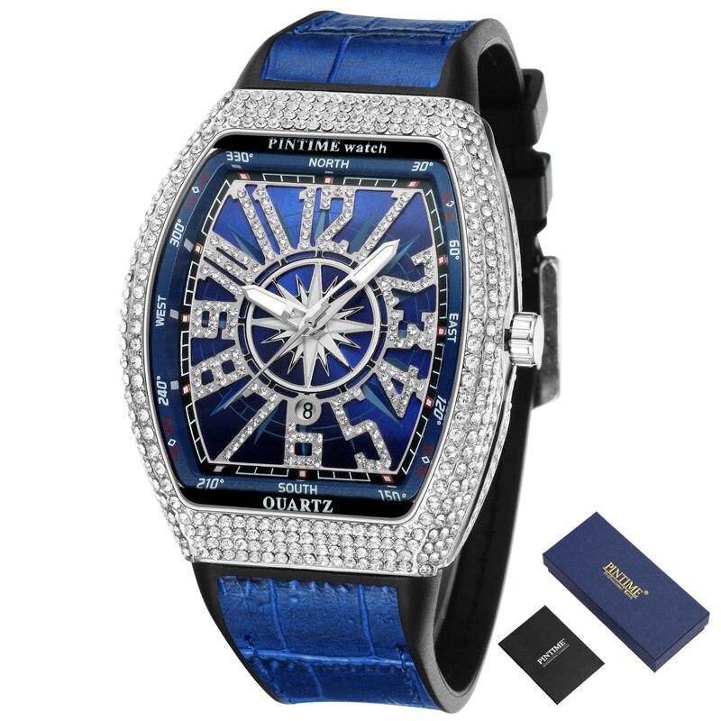 الطلب الكبير الهيب هوب الرجال ساعة كوارتز الإبداعية الماس الذهب ساعة العلامة التجارية الفاخرة الساعات العسكرية الرجال ساعة Reloj Hombre Zegarek Meski