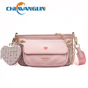 Chuwanglin Small PU Leather Crossbody Bags For Women Three In One Trend Bag Chain Shoulder Handbags Female Travel Bag 5041327