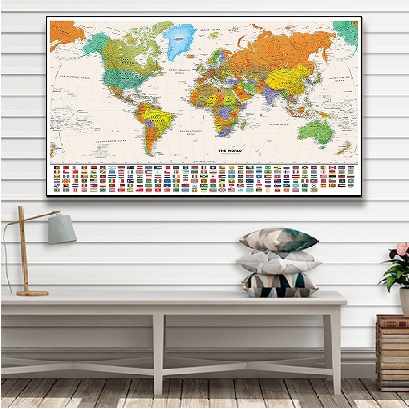 150x100cm The World Map with National Flags Vintage Canvas Painting Wall Art Poster Non-woven Fabric School Supplies Home Decor