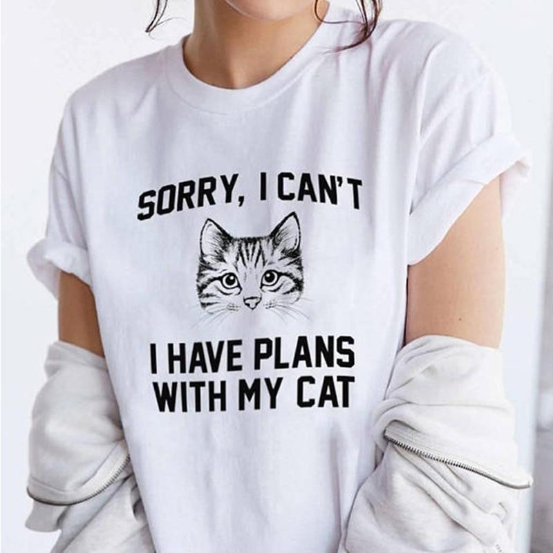 Cat Head Print T Shirt Women Cute Short Sleeve O Neck Loose Tshirt 2020 Summer Tee Shirt Tops Camisetas Mujer