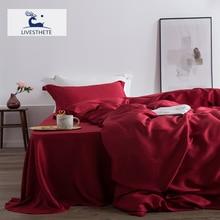 Liv-Esthete Wein Rot 100% Seide Bettwäsche Set Frauen Schönheit Gesunde Bettbezug-set Flache Blatt Bett Leinen Für gesunde Bett Set 4pcs