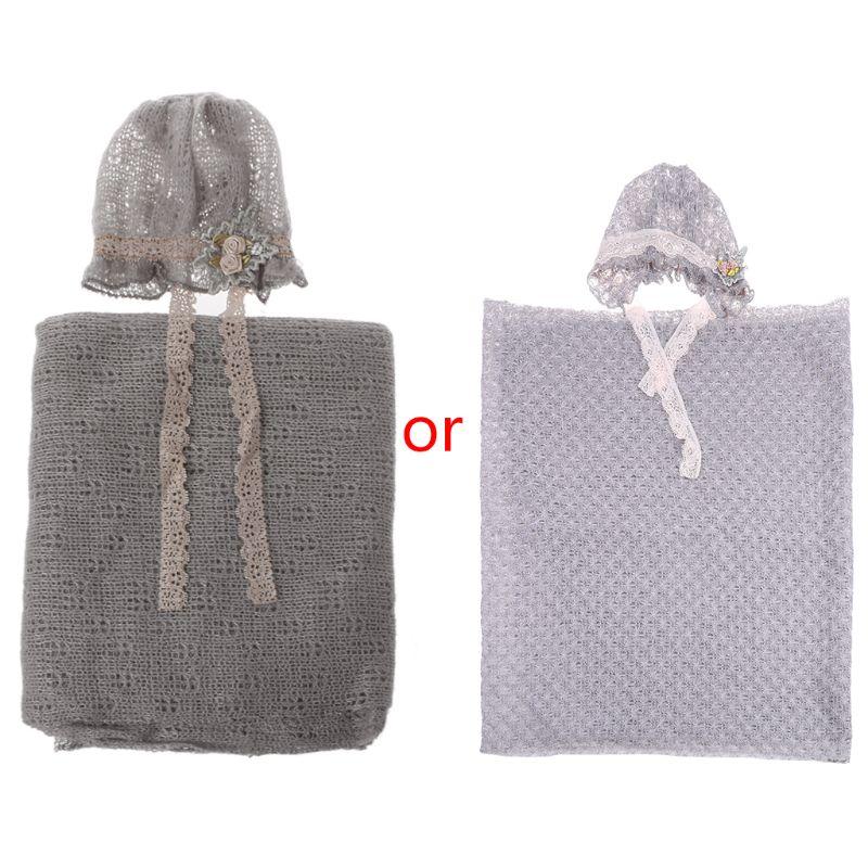 2018 accesorios de fotografía recién nacido bebé Crochet disfraz para foto gorras conjunto de Manta elástica