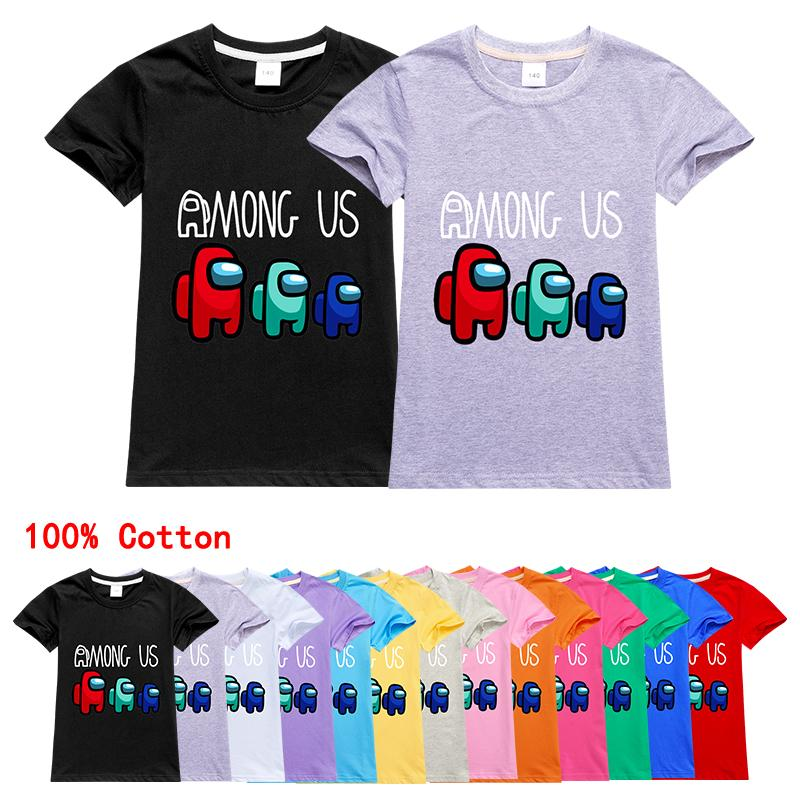Among Us Kids New Game Print Clothes Teen Funny Cotton Boys T Shirts Children Short Sleeve Clothing Homme Tees Tops Girls Tshirt