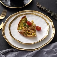 ceramic dinner plate gold inlay snack dishes luxury gold edges plate dinnerware kitchen plate black and white tray tablware set