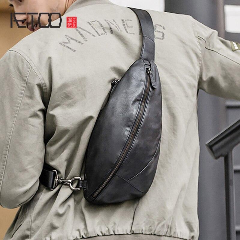 Aetoo couro masculino peito saco, tendência cabeça de couro inclinada saco, rua casual saco