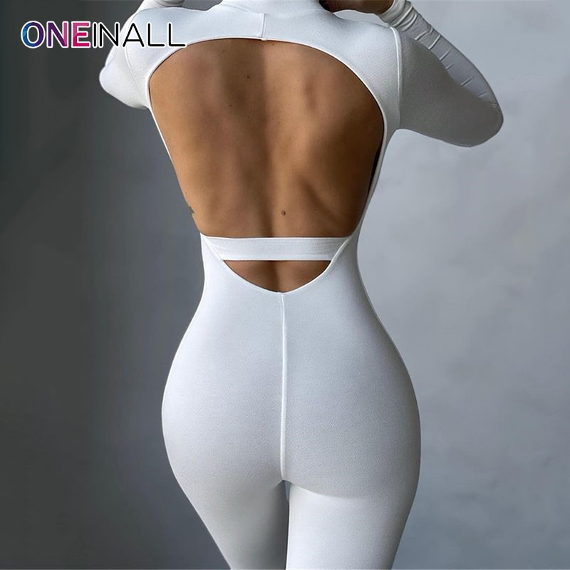 ONEINALL Sexy Patchwork Jumpsuit For Women Stand Collar Long Sleeve High Waist Hollow Out Slim Jumpsuits Female Summer 2021 Tide