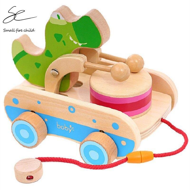 Novo brinquedo de transporte de madeira puxar corda carrinho de mão carro bebê tração 1-2-3 anos de idade música crocodilo tambor brinquedo carro presente para crianças