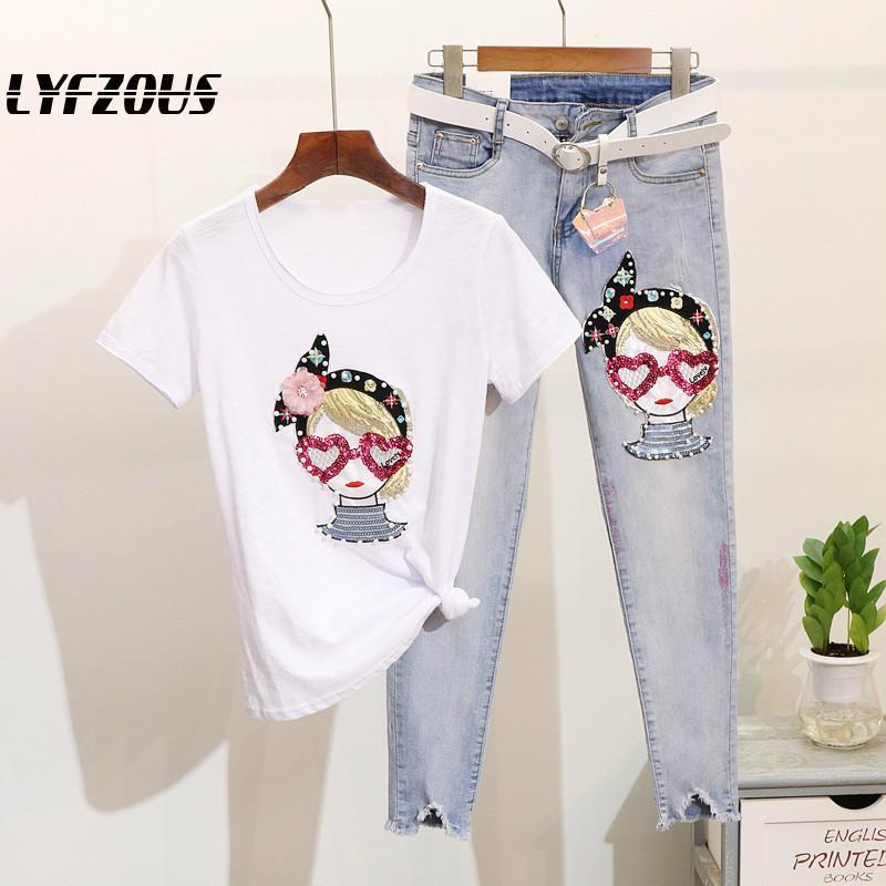 Europäischen Stil Mädchen Studenten Zwei 2 Stück Set Mode Pailletten Perlen T Shirt Und Zerrissene Jeans Sets Frauen Outfits Denim anzüge