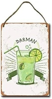metal sign 8 x 12 inch barman lime cocktail wall decor hanging sign