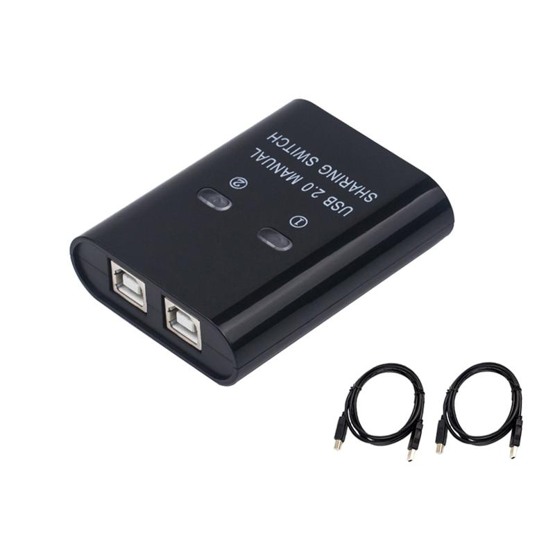 USB-коммутатор 2 порта ручной usb-хаб два компьютера общий U-диск принтер устройство два в одном выход USB2.0 Sharer с кабелем
