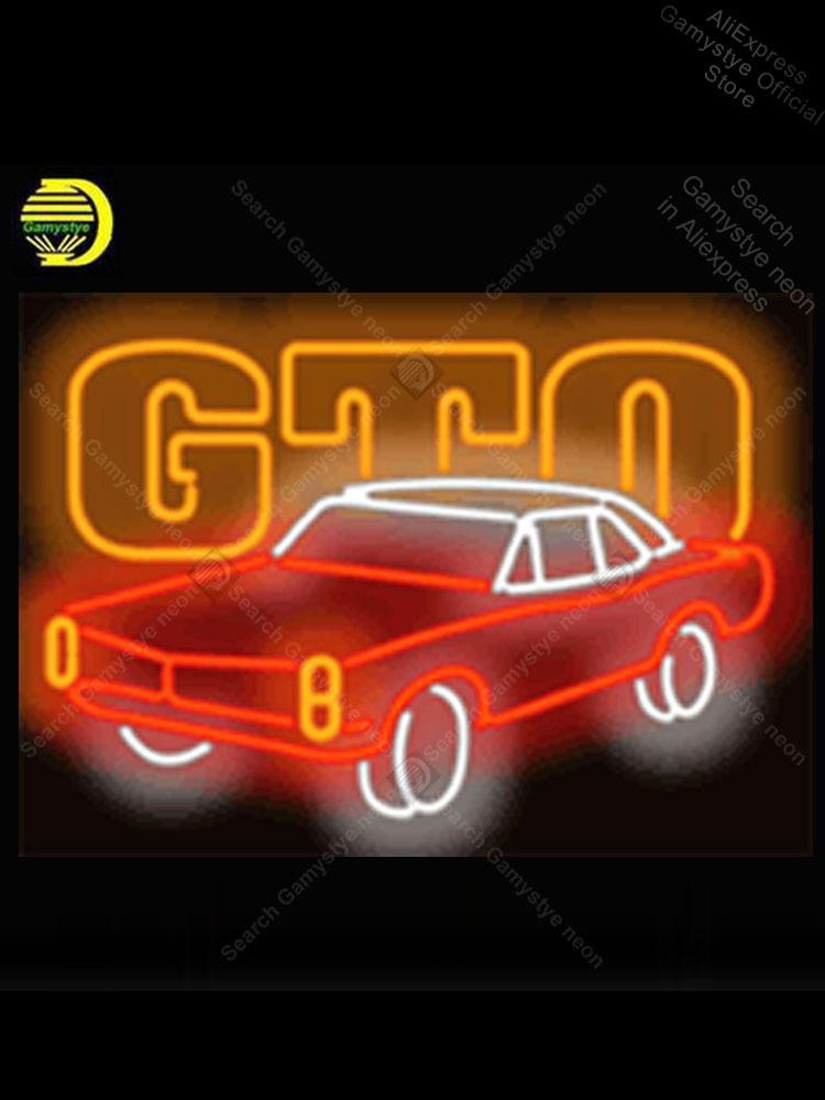 GTO-علامة مصباح نيون للسيارة ، أنبوب زجاجي حقيقي ، لمبة نيون مصنوعة يدويًا ، علامة مخصصة ، شاشة منزلية ، مصباح نيون ، علامة متجر الحيوانات الأل...