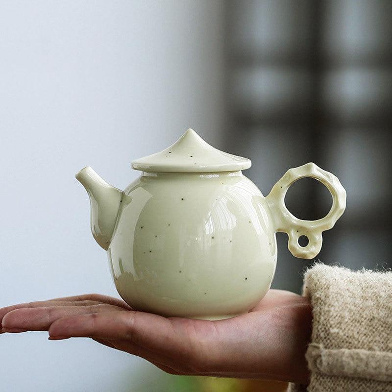 إبريق شاي سيراميك يدوي ، أبيض تاو دو ، حجر زجاجي أصفر ، طقم شاي كونغ فو ، إبريق شاي يدوي مع مصفاة شاي مزهرة