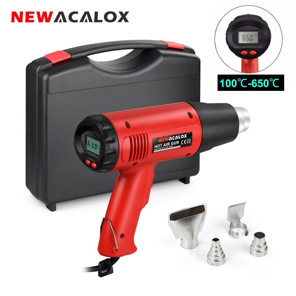 NEWACALOX 220V 2000W Heat Gun Thermoregulator Digital Hot Air Gun Shrink Wrapping Heater Power Tool with 4PC Nozzles Tool Box