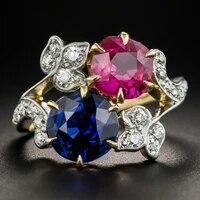 fashion women rings 925 silver jewelry created topaz zircon gemstone flower shape finger ring for wedding promise gift ornaments