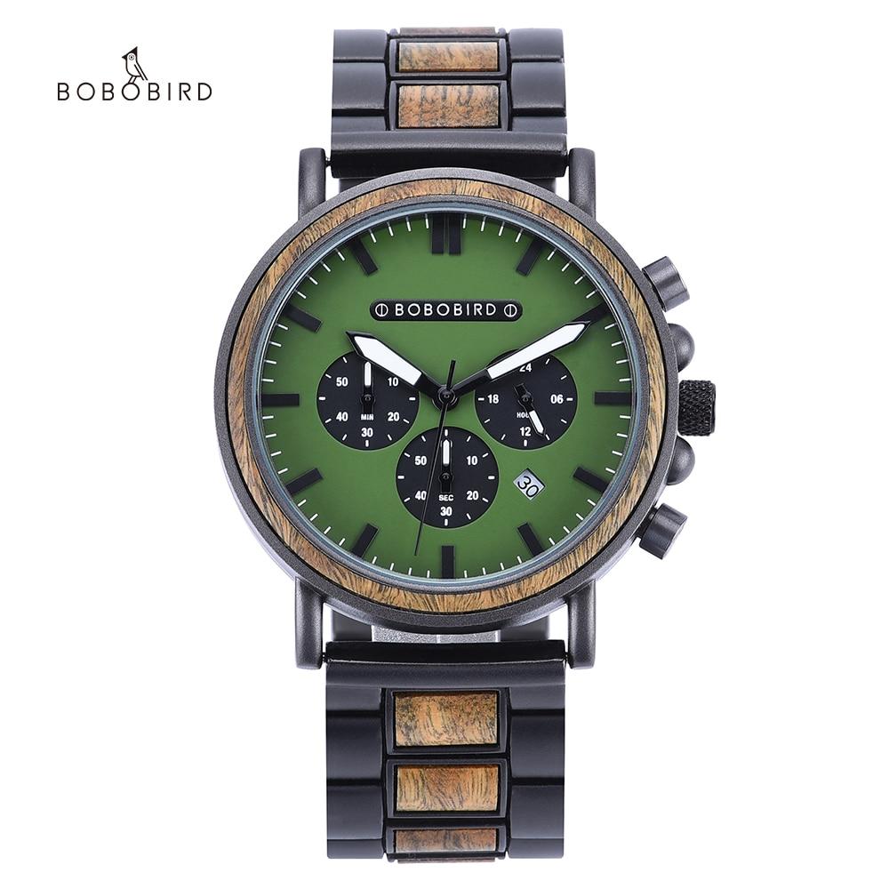 BOBO BIRD ساعة رجالية موضة الأخضر خشبية معدنية ساعة كوارتز ساعة اليد كرونوغراف السيارات تاريخ عرض ساعة relogio masculino