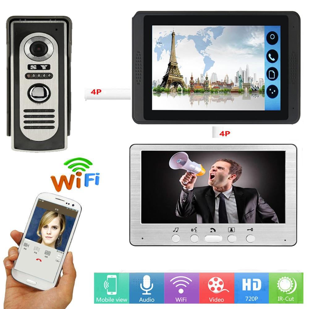 APLICATIVO de Controle Remoto Porta Vídeo Porteiro 7 Polegada WIFI Câmera de Voz Visual Campainha Do Telefone Da Porta de Vídeo Sem Fio Intercom Sistema