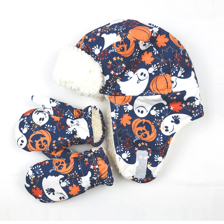 Зимняя шапка-бомбер, комплект перчаток для мальчиков, ушанка для девочек, детский флисовый теплый водонепроницаемый лыжный аксессуар для м...