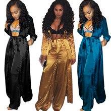 Атласный комплект из двух предметов, женский модный длинный кардиган-кимоно, Тренч и широкие брюки, комплект дамских брюк, костюмы, комплект...