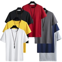 2021 summer fashion hot style new men's solid color T shirt O collar short sleeve oversize T shirt