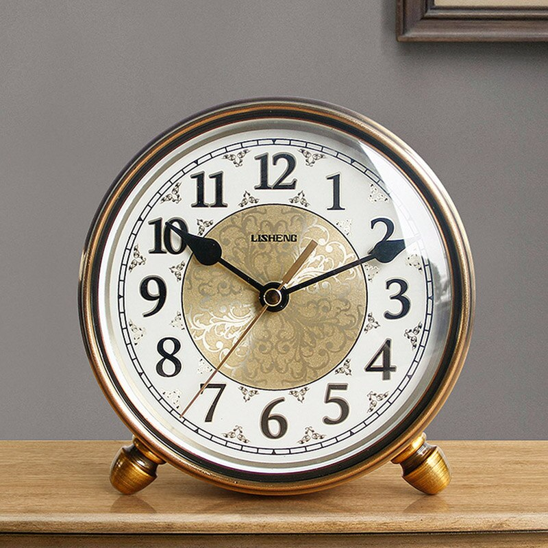 Hot Vintage Metal Table Clock Mute Living Room Desk Clock Home Decoration European Table Watch Desktop Bedroom Alarm Clock